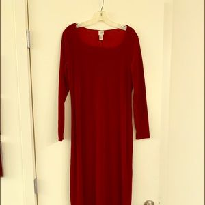 Burgundy velvet fit and flair dress